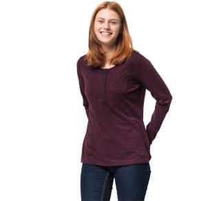 Jack Wolfskin Long Sleeved Shirt Women Winter Travel Henley Women Xs Violet