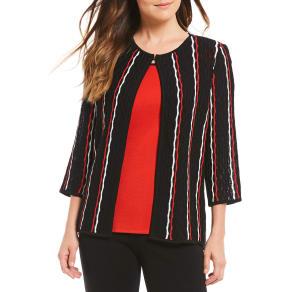 Misook Jewel Neck Crochet Lines Jacket
