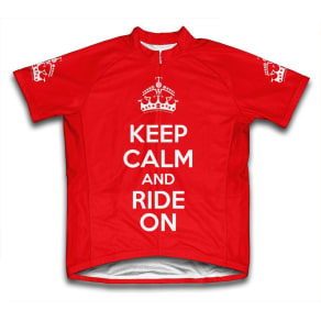Scudo Keep Calm and Ride on Microfiber Short-Sleeved Cycling Jersey, Red, Xl