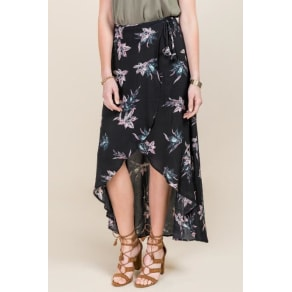 Layna Tropical Floral Wrap Skirt - Black
