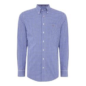 Men's Gant Poplin Gingham Long Sleeve Shirt, Blue