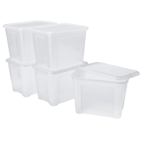 Tontarelli 18 Litre Plastic Storage Box With Lid - Set of 5
