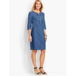Talbots Women's Lace Up Denim Henley Dress True Blue Wash