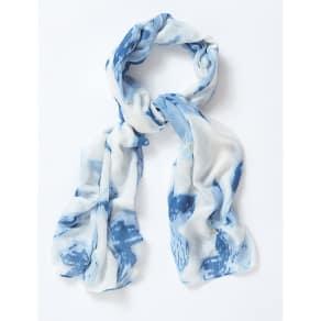 Blue, White Tie Dye Print Long Line Scarf