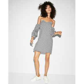 Express Womens Gingham Off The Shoulder Shift Dress