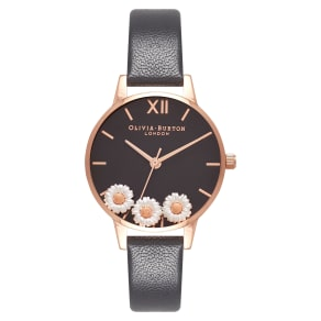 Women's Olivia Burton Dancing Daisy Leather Strap Watch, 30mm