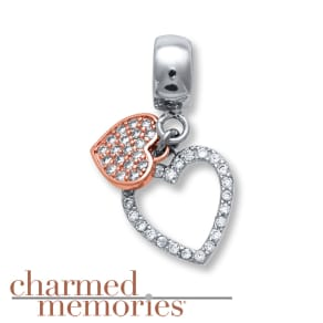 Charmed Memories Heart Charm Cubic Zirconia Sterling Silver