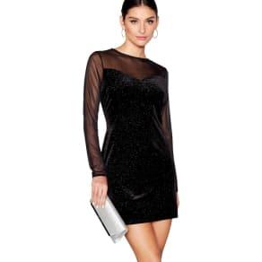 Star by Julien Macdonald Black Velvet Sparkle Sweetheart Neckline Long Sleeves Mini Tunic Dress