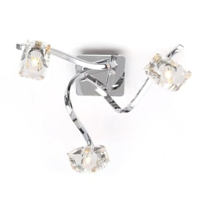 Home Collection Bella Cut Glass and Silver Metal 3 Light Flush Light