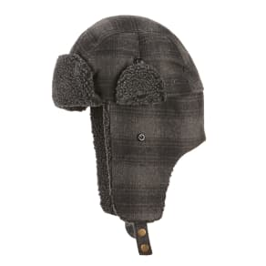 Lake of the Isles Windowpane Trapper With Faux-Sherpa Trim