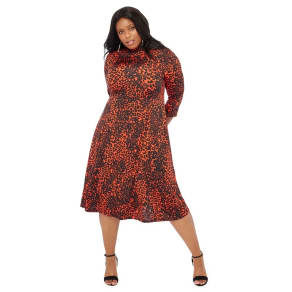 The Collection - Orange Leopard Print Knee Length Fit And Flare Plus Size  Dress 3db0768e5