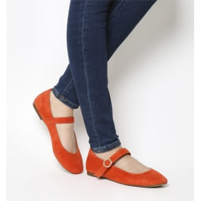 Office Fussy Square Toe Mary Jane Red Suede