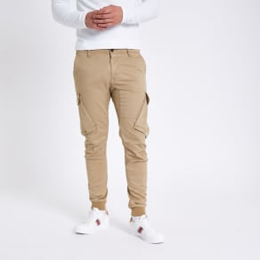 Mens Beige Tapered Cargo Trousers