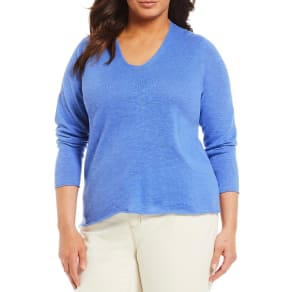 Eileen Fisher Plus Size V-Neck Box Top