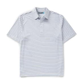 Roundtree & Yorke Performance Big and Tall Short-Sleeve Striped Polo