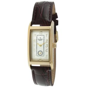 Mens Peugeot Gold Tone Brown Contour Watch #2039G