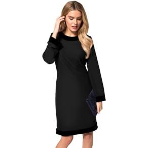 Hotsquash Black Crepe Boat Neck Tunic Dress With Velvet