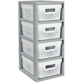 Curver Infinity 4 Drawer Storage Tower - Grey & White