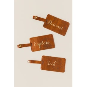 Discover Explain Seek Luggage Tag Set - Cognac