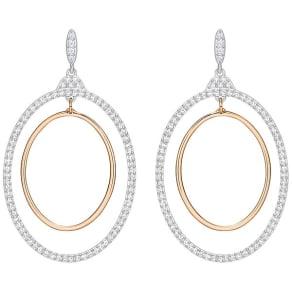 Swarovski Swarovski Gilberte Hoop Pierced Earrings, White, Mixed Plating White Rose Gold-Plated