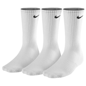 Nike 3 Pack Moisture Mgt Cushion Crew Socks - Mens - White/Grey/Black