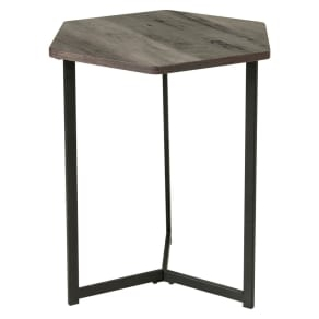 Hexagon Side Table - Brown Oak - Homestar