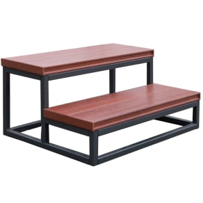 Outdoor Cal Metro 21 In. X 30 In. X 14 In. 2 Tier Spa Step in Mahogany