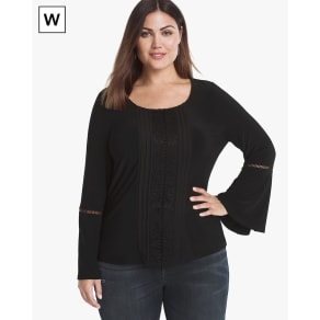 Women's Plus Long-Sleeve Lace Inset Top by White House Black Market