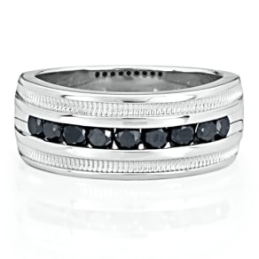 Men's 1 Ct. Tw. Black Diamond Band in Sterling Silver