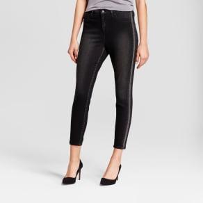 Women's Jeans High Rise Jeggings Beaded Tuxedo Stripe - Mossimo Black 00s, Size: 00 Short