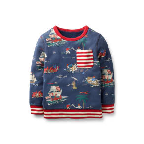 Boy's Mini Boden Fun Pirates Sweatshirt, Size 4-5y - Blue