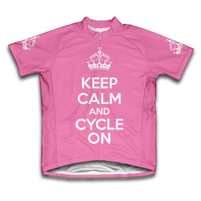 Scudo Keep Calm and Cycle on Microfiber Short-Sleeved Cycling Jersey, Pink, Xl