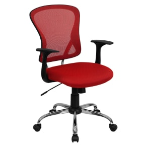 Mid-Back Mesh Chair with Chrome Base Red - Belnick