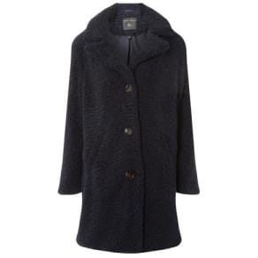 Womens Navy Button Front Teddy Coat
