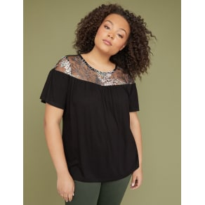Lane Bryant Women's Embroidered Mesh Yoke Top 22/24 Pitch Black