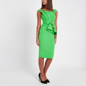 River Island Womens Green Bardot Tie Front Bodycon Dress