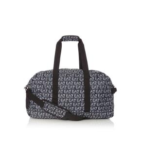 Ea7 Monogram All Over Logo Duffle Bag, Black
