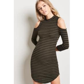 Striped Open-Shoulder Dress