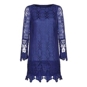Mela London Art Deco Lace Tunic Dress, Blue