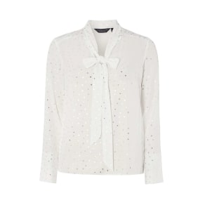Womens Ivory and Silver Spotted Top