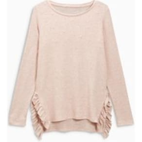 Womens Next Blush Embellished Cosy Ruffle Top -  Pink