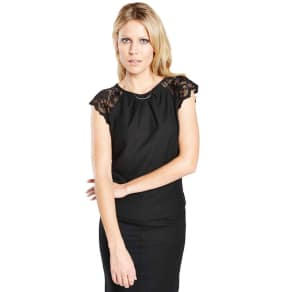 Hotsquash Black Crepe Top With Lace Sleeves in Clever Fabric