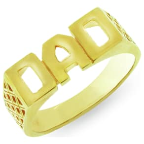 Moon & Back 9ct Gold Plated Silver 'Dad' Ring