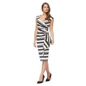 Debut - Black 'Claudette' Stripe V-Neck Pencil Dress