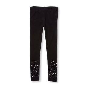 Girls  Faux Pearl And Rhinestud Leggings - Black