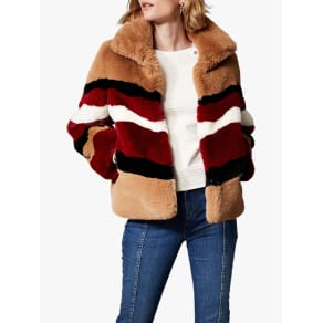 Karen Millen Faux Fur Colourblock Coat, Multi