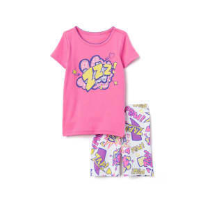 Girl's Comics 2-Piece Shortie Pajamas by Gymboree - Size 12-18m - Soft Rose - Soft Rose
