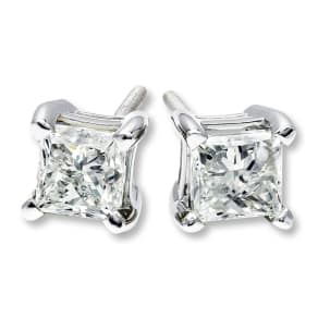 Diamond Solitaire Earrings 1 Ct Tw Princess-Cut 14k White Gold