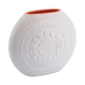 Zuo Stampa Matte White & Orange Large Vase