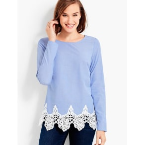 Talbots Women's Lace Trimmed End on End Top